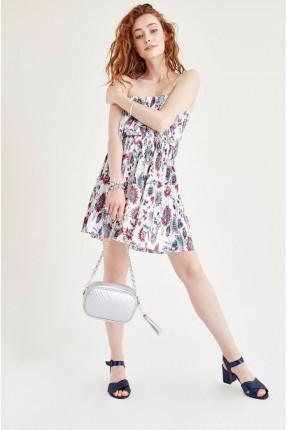 فستان قصير منقوش