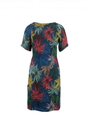 فستان مزهر - كحلي