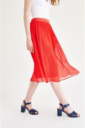 تنورة قصيرة كسرات - احمر