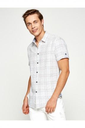 قميص رجالي كارو - ابيض
