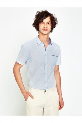 قميص رجالي مع جيب - ازرق