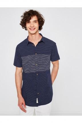 قميص رجالي مخطط - كحلي