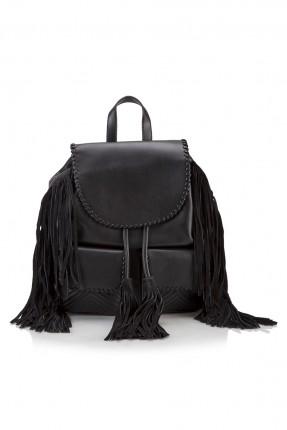 حقيبة ظهر نسائية مع شراشيب - اسود