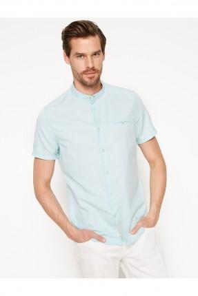 قميص رجالي ياقة مدورة - ازرق