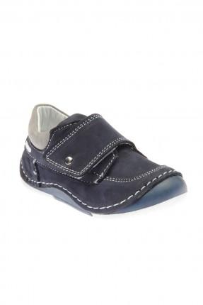 حذاء جلد بيبي ولادي - نيلي