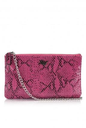 حقيبة يد نسائية منقوشة - وردي