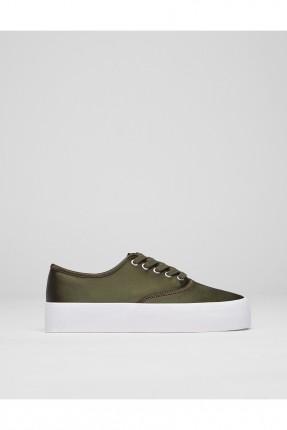 حذاء نسائي ساتان - زيتي