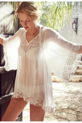 فستان لانجري قصير - ابيض