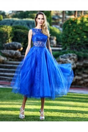 فستان رسمي قصير تول