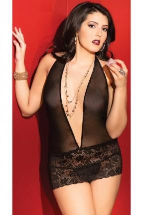 فستان لانجري مفتوح الصدر - اسود