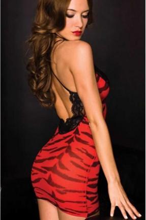 فستان لانجري قصير - احمر مثير