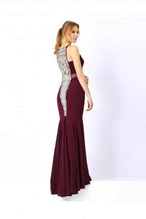 فستان رسمي مع زخرفة - خمري