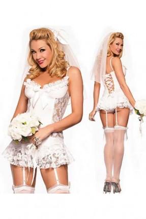 لانجري زي العروس المثيرة - ابيض