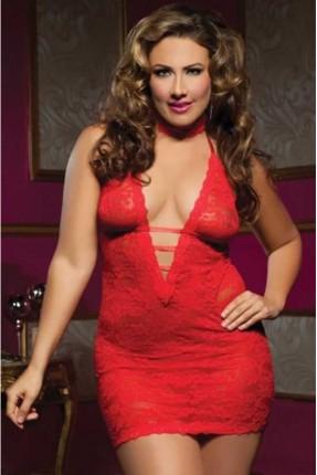 فستان لانجري مفتوح الصدر - احمر