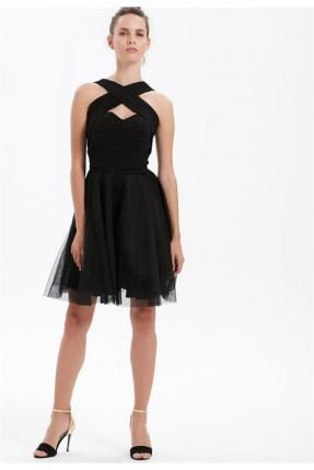 فستان رسمي مع تول - اسود