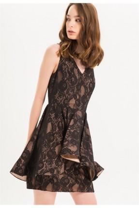 فستان رسمي مع دانتيل - اسود