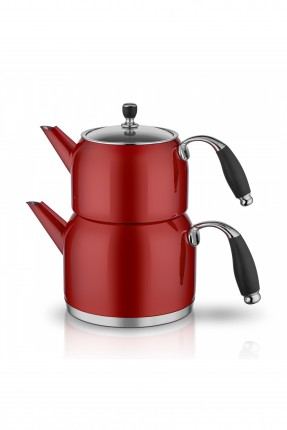 ابريق شاي تركي ستانلس - احمر