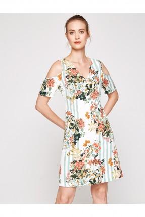 فستان نسائي بنقشة ازهار - ابيض