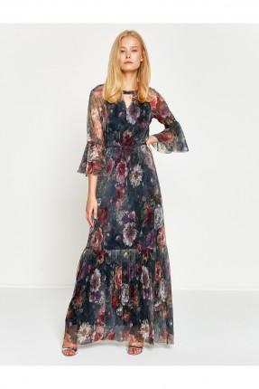 فستان نسائي بنقشات - ازرق