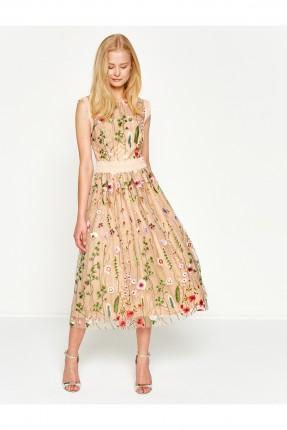 فستان مطرز - بيج