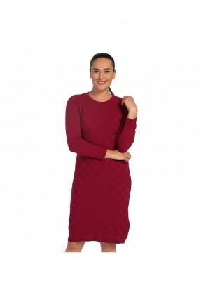 فستان سبور قصير مع اكمام _ خمري
