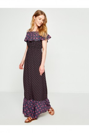 فستان سبور طويل مع كشكش