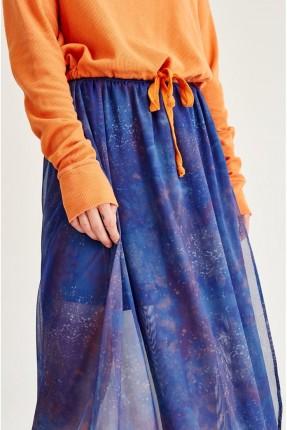 تنورة طويلة تول ملونة