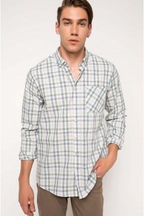 قميص رجالي كارو _ اخضر