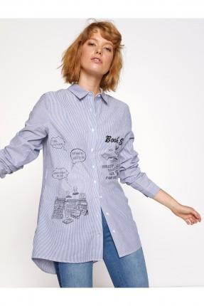 قميص نسائي مخطط - ازرق
